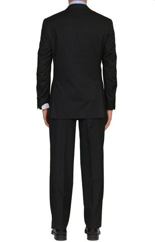 "BRIONI ""PARLAMENTO"" Handmade Black Striped Wool Suit NEW"