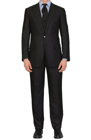 "BRIONI ""PARLAMENTO"" Handmade Black Striped Wool Super 200's Suit EU 60 NEW US 50"