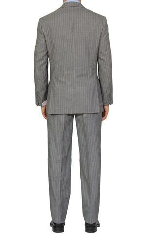 "BRIONI ""PARLAMENTO"" Handmade Gray Striped Wool Super 150's Suit NEW"