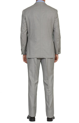 "BRIONI ""PARLAMENTO"" Handmade Gray Striped Wool Super 180's Suit NEW"