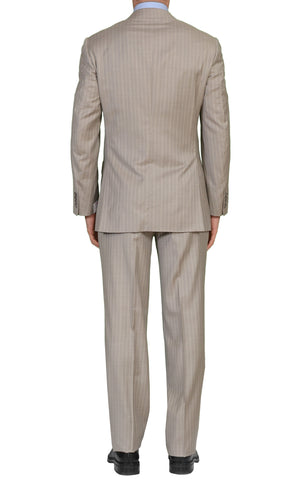 "BRIONI ""PARLAMENTO"" Handmade Light Gray Striped Wool-Silk Suit NEW"