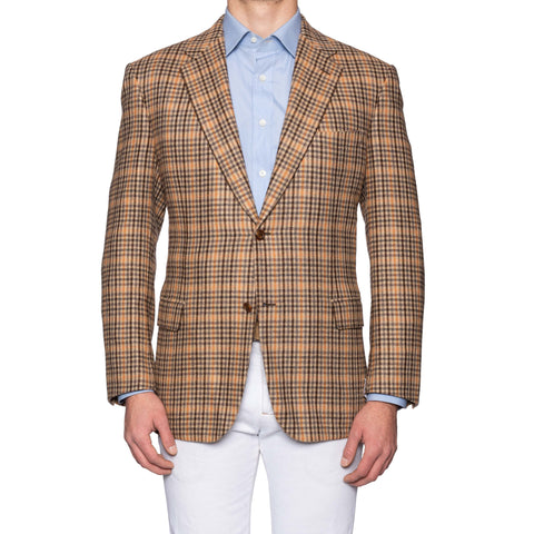 "BRIONI ""PARLAMENTO"" Handmade Tan Pure Plaid Cashmere Jacket NEW"