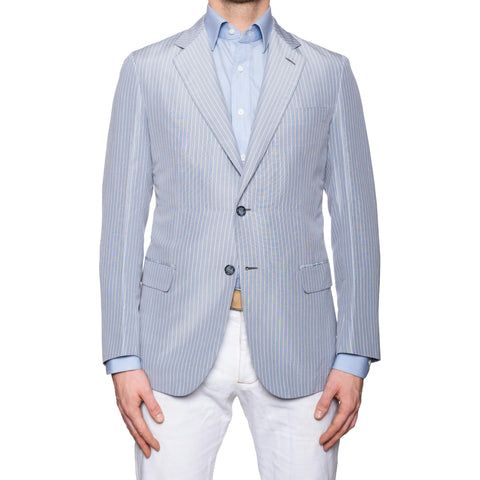 "BRIONI ""PIUMA"" Handmade Blue Linen-Silk Unlined Summer Jacket EU 50 NEW US 40"