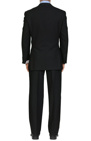 "BRIONI ""TIBERIO"" For ARAMIS Handmade Black Striped Wool Double Breasted Suit NEW"