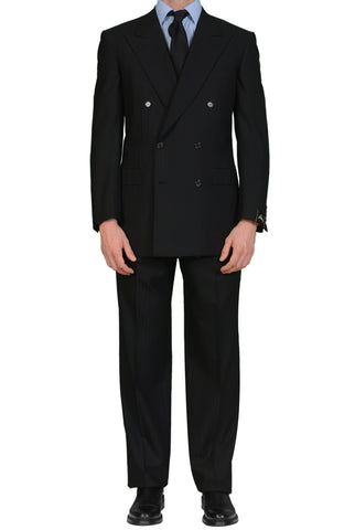"BRIONI ""TIBERIO"" For ARAMIS Handmade Black Striped Wool DB Suit 50 NEW US 40"
