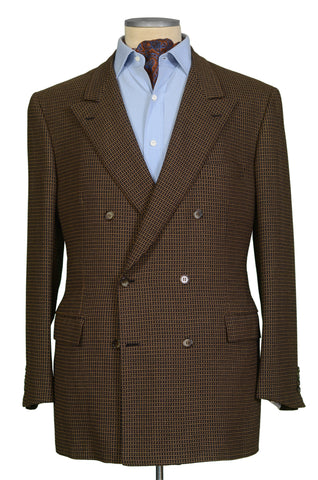 "BRIONI ""TIBERIO"" for ARAMIS Khaki-Black Geometric Wool DB Jacket EU 58 NEW US 48"