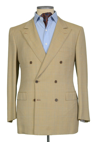 "BRIONI ""TIBERIO"" for ARAMIS Tan Herringbone Plaid Wool DB Jacket EU 52 NEW US 42"