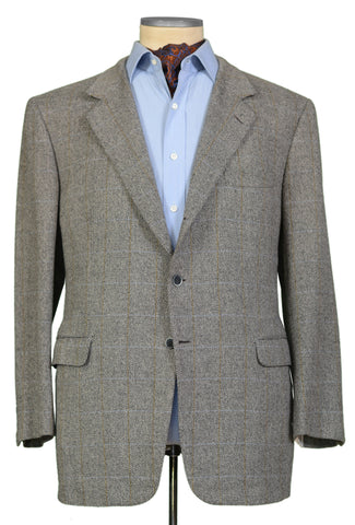 "BRIONI ""TRAIANO"" For ARAMIS Gray Windowpane Wool Cashmere Jacket EU 58 NEW US 48"