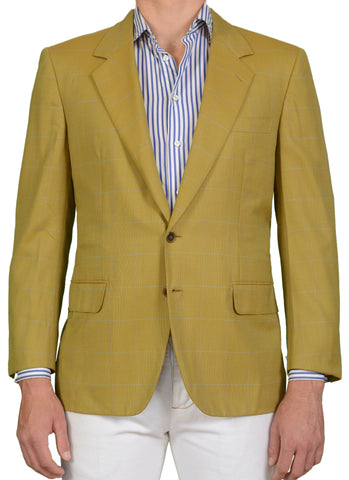 "BRIONI ""TRAIANO"" For ARAMIS Olive Windowpane Wool Jacket EU 53 NEW US 43 Short"