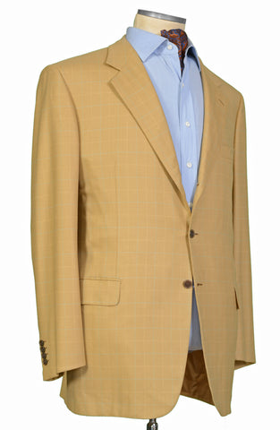 "BRIONI ""TRAIANO"" For ARAMIS Tan Herringbone Plaid Wool Jacket 58 NEW US 48 Long"