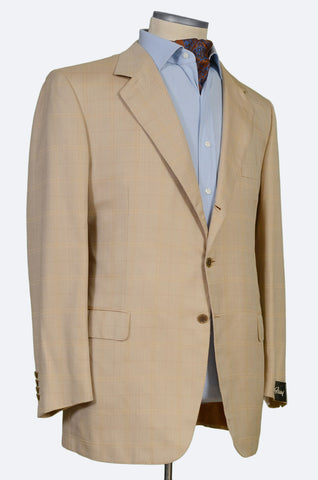 "BRIONI ""TRAIANO"" Handmade Beige Herringbone Silk Wool Jacket NEW"