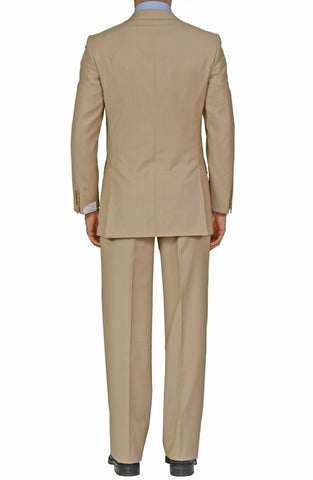 "BRIONI ""TRAIANO"" Handmade Beige Striped Wool Business Suit NEW"