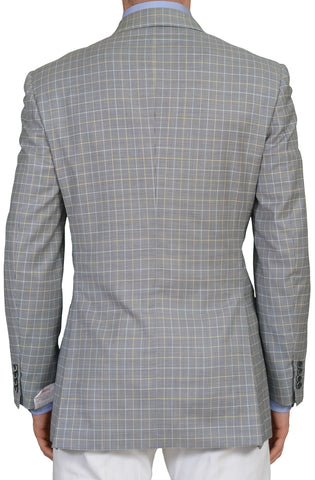 "BRIONI ""TIBERIO"" for ARAMIS Handmade Blue Gun Club Plaid Wool DB Jacket NEW"