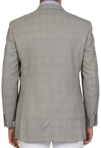 "BRIONI ""TIBERIO"" for ARAMIS Handmade Gray Plaid Twill DB Jacket EU 52 NEW US 42"
