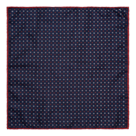 BRUNELLO CUCINELLI Blue Silk Double-Faced Pocket Square NEW 35cm x 35cm