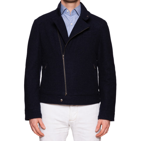 BRUNELLO CUCINELLI Blue Wool-Cashmere Thermore Biker Jacket 50 NEW M