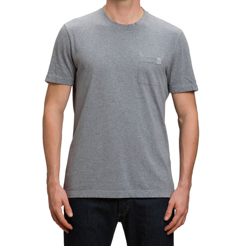 BRUNELLO CUCINELLI Solid Gray Cotton Short Sleeve Crewneck T-Shirt Size XL Slim Fit