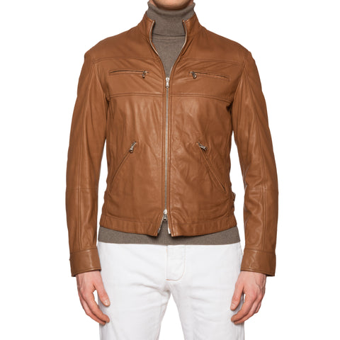 BRUNELLO CUCINELLI Tan Leather Bomber Cafe Racer Jacket NEW Size M