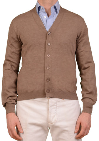 BRUNELLO CUCINELLI Beige Wool Cashmere Cardigan Sweater NEW XXL