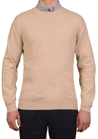 BRUNELLO CUCINELLI Beige Cashmere Crewneck Sweater US XXL NEW EU 56
