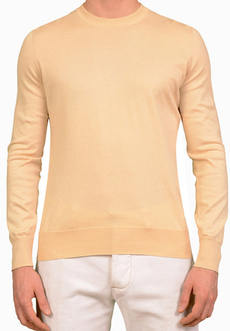BRUNELLO CUCINELLI Beige Cotton Crewneck Sweater EU 50 NEW US M