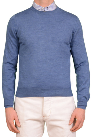 BRUNELLO CUCINELLI Blue Cashmere-Wool Crewneck Sweater US XS NEW EU 46