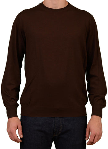 BRUNELLO CUCINELLI Brown Cashmere-Wool Crewneck Sweater NEW - SARTORIALE - 1