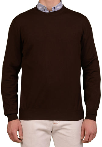 BRUNELLO CUCINELLI Brown Cashmere-Wool Crewneck Sweater US 2XL NEW EU 56