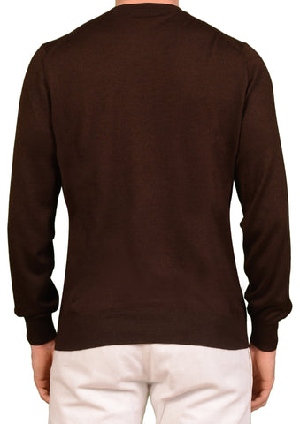BRUNELLO CUCINELLI Brown Cashmere Silk Crewneck Ribbed Sweater NEW
