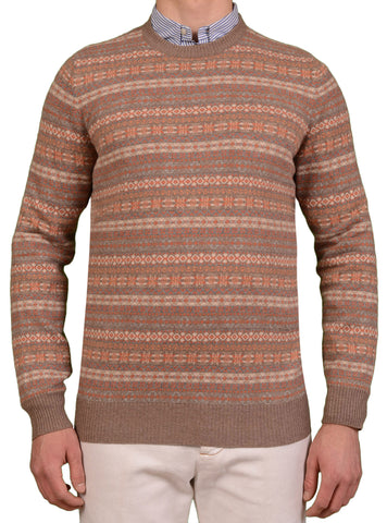 BRUNELLO CUCINELLI Brown Cashmere Fair Isle Sweater NEW