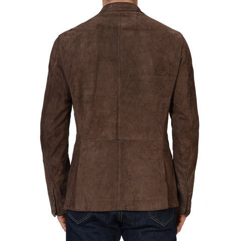 BRUNELLO CUCINELLI Brown Suede Leather Double Breasted Jacket Size M