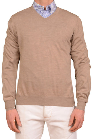 BRUNELLO CUCINELLI Chestnut Cashmere-Wool V-Neck Sweater XL NEW 54