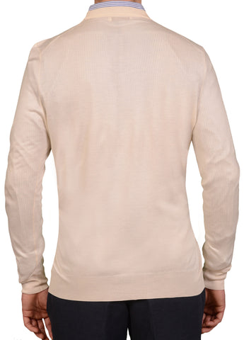 BRUNELLO CUCINELLI Cream Cashmere Silk Crewneck Sweater NEW