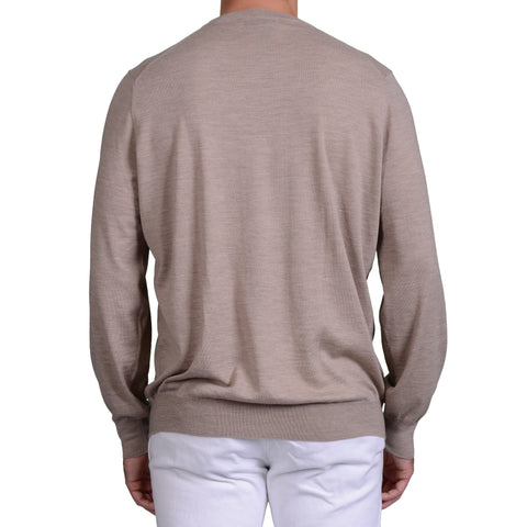 BRUNELLO CUCINELLI Light Brown Wool - Cashmere Crewneck Sweater US 2XL NEW EU 56