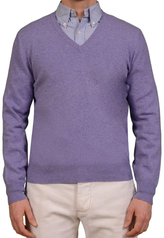 BRUNELLO CUCINELLI Light Purple Cashmere V-Neck Sweater US S NEW EU 48