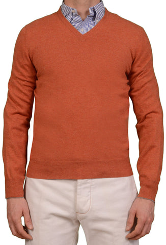 BRUNELLO CUCINELLI Orange Cashmere V-Neck Sweater US S NEW EU 48
