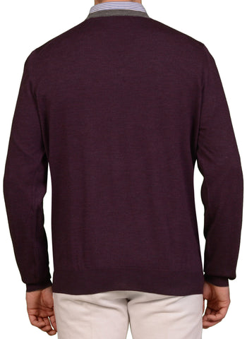 BRUNELLO CUCINELLI Purple Cashmere-Wool V-Neck Sweater US 2XL NEW EU 56