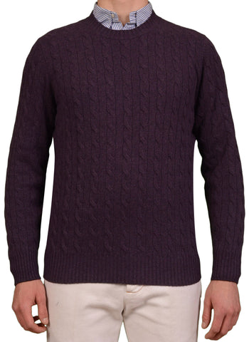 BRUNELLO CUCINELLI Purple Cashmere Crewneck Cable Knit Sweater US L NEW EU 52