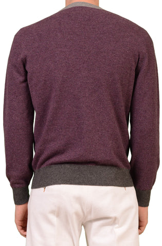 BRUNELLO CUCINELLI Purple Cashmere Crewneck Sweater NEW - SARTORIALE - 2
