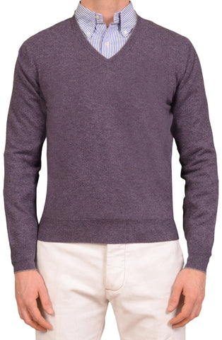 BRUNELLO CUCINELLI Purple Cashmere V-Neck Sweater NEW