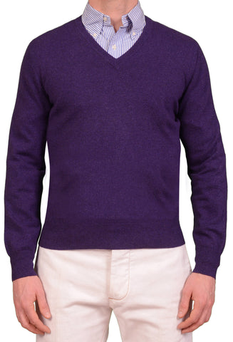 BRUNELLO CUCINELLI Purple Cashmere V-Neck Sweater US S NEW EU 48