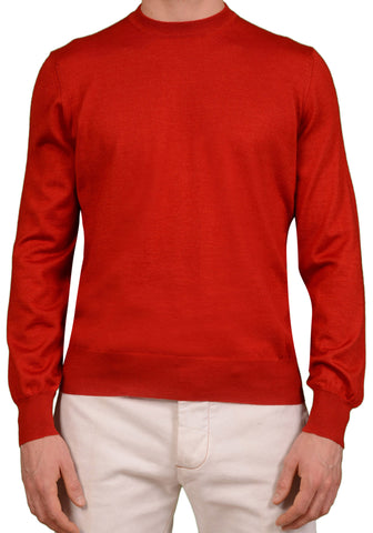 BRUNELLO CUCINELLI Red Cashmere - Silk Crewneck Sweater US M NEW EU 50