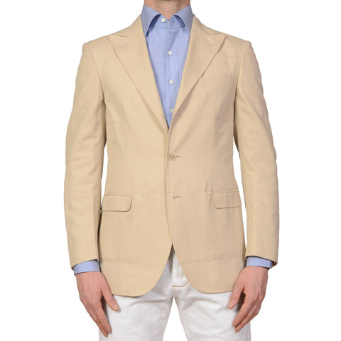 BRUNELLO CUCINELLI Solid Beige Cotton Peak Lapel Jacket NEW Slim Fit