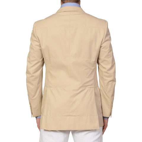 BRUNELLO CUCINELLI Beige Cotton Peak Lapel Jacket NEW Slim Fit