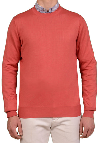 BRUNELLO CUCINELLI Solid Coral Cashmere - Silk Crewneck Sweater NEW