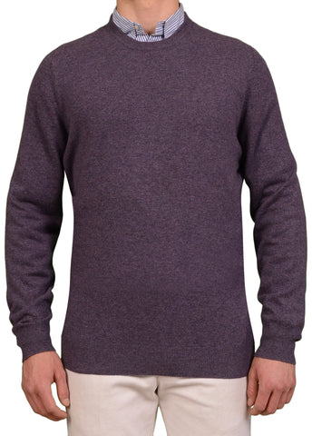 BRUNELLO CUCINELLI Solid Purple Cashmere Crewneck Sweater US 2XL NEW EU 56