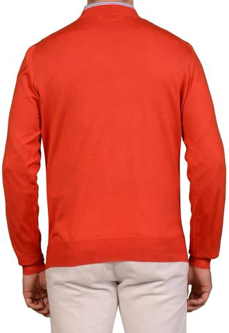 BRUNELLO CUCINELLI Solid Red Cashmere Silk Crewneck Sweater NEW