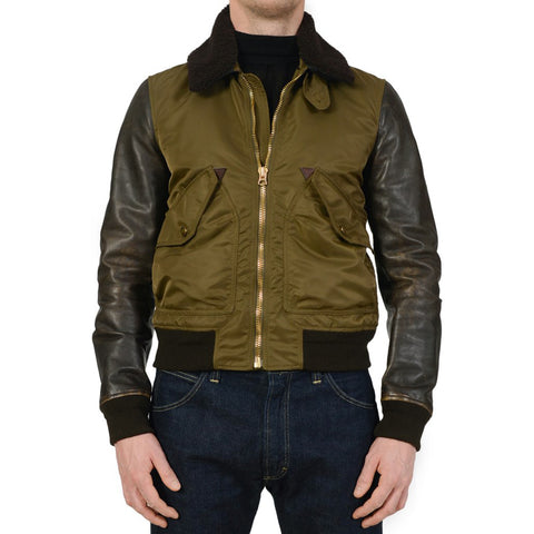 BURBERRY BRIT Olive Poly-Calf Leather Shearling Collar Flight Bomber Jacket M