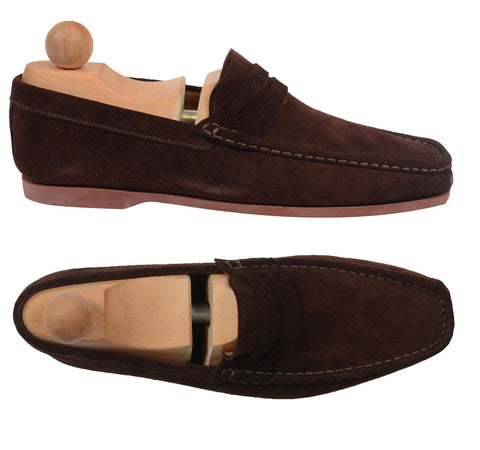 "RUBINACCI Napoli ""Boat Moccasin"" Brown Suede Loafer Casual Shoes EU 6 NEW US 7"