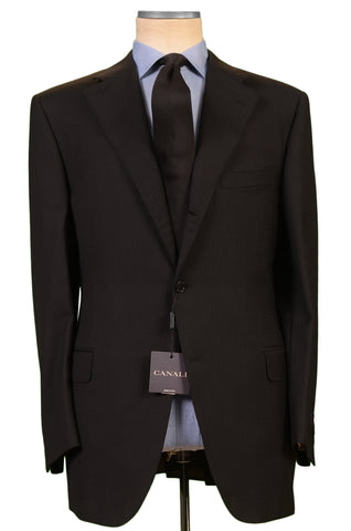 CANALI Black Jacquard Wool Notch Lapel Business Suit EU 56 NEW US 46 Classic